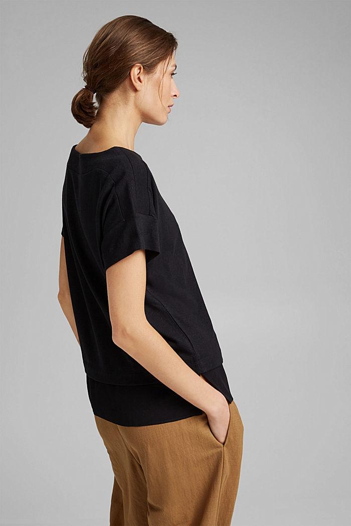 Met linnen: T-shirt met laagjeseffect, BLACK, detail image number 3