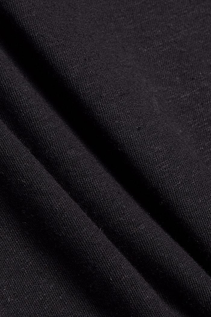 Met linnen: T-shirt met laagjeseffect, BLACK, detail image number 4