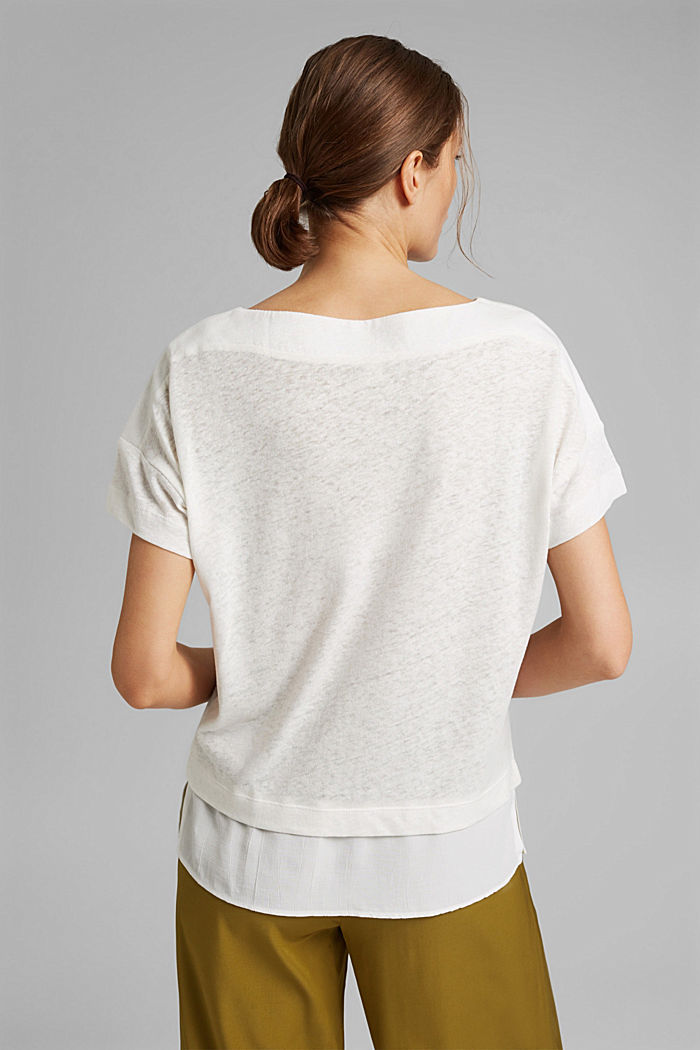 Linen blend: layered-effect T-shirt, OFF WHITE, detail image number 3
