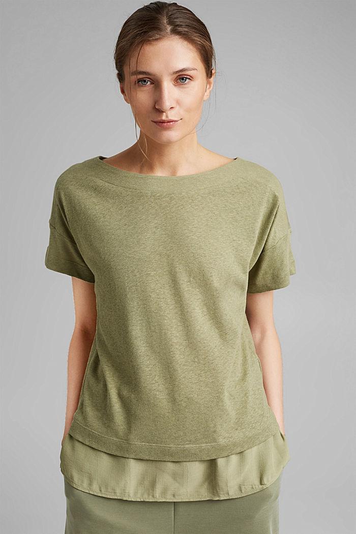 Linen blend: layered-effect T-shirt, LIGHT KHAKI, detail image number 0