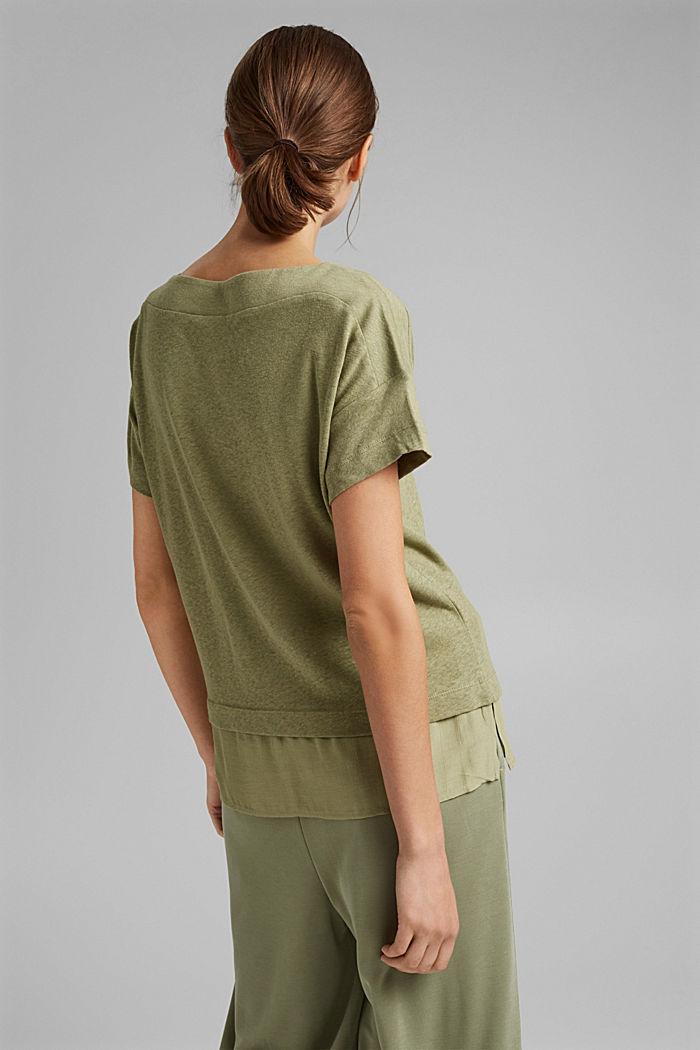 Linen blend: layered-effect T-shirt, LIGHT KHAKI, detail image number 3