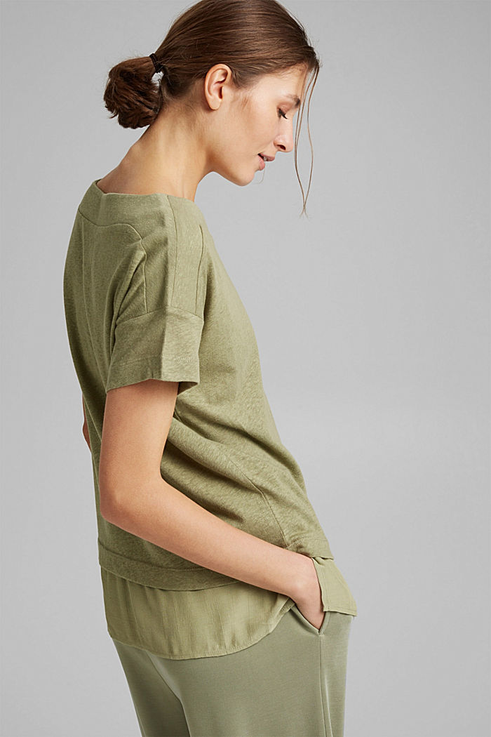 Linen blend: layered-effect T-shirt, LIGHT KHAKI, detail image number 6