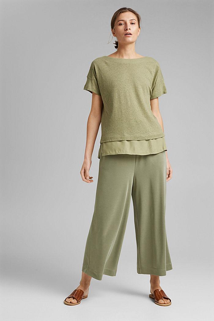 Linen blend: layered-effect T-shirt, LIGHT KHAKI, detail image number 1