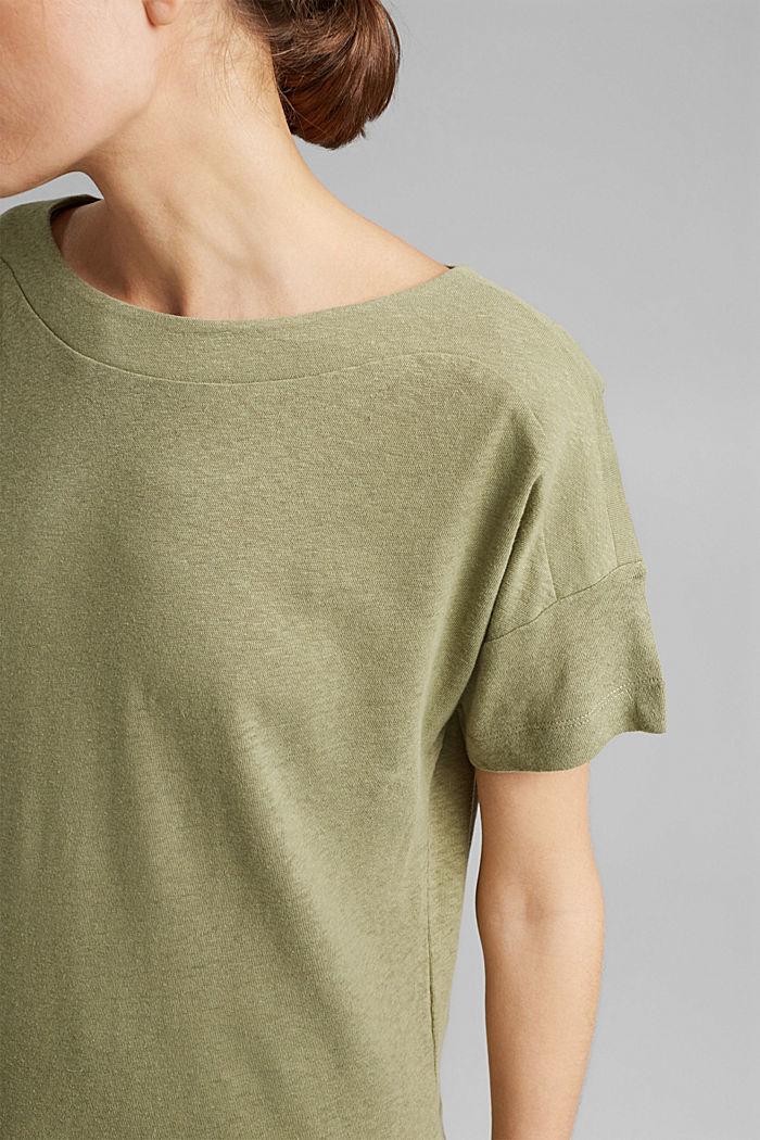 Linen blend: layered-effect T-shirt, LIGHT KHAKI, detail image number 2