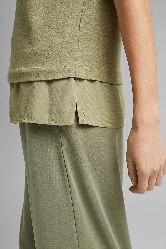 Linen blend: layered-effect T-shirt, LIGHT KHAKI, detail image number 5