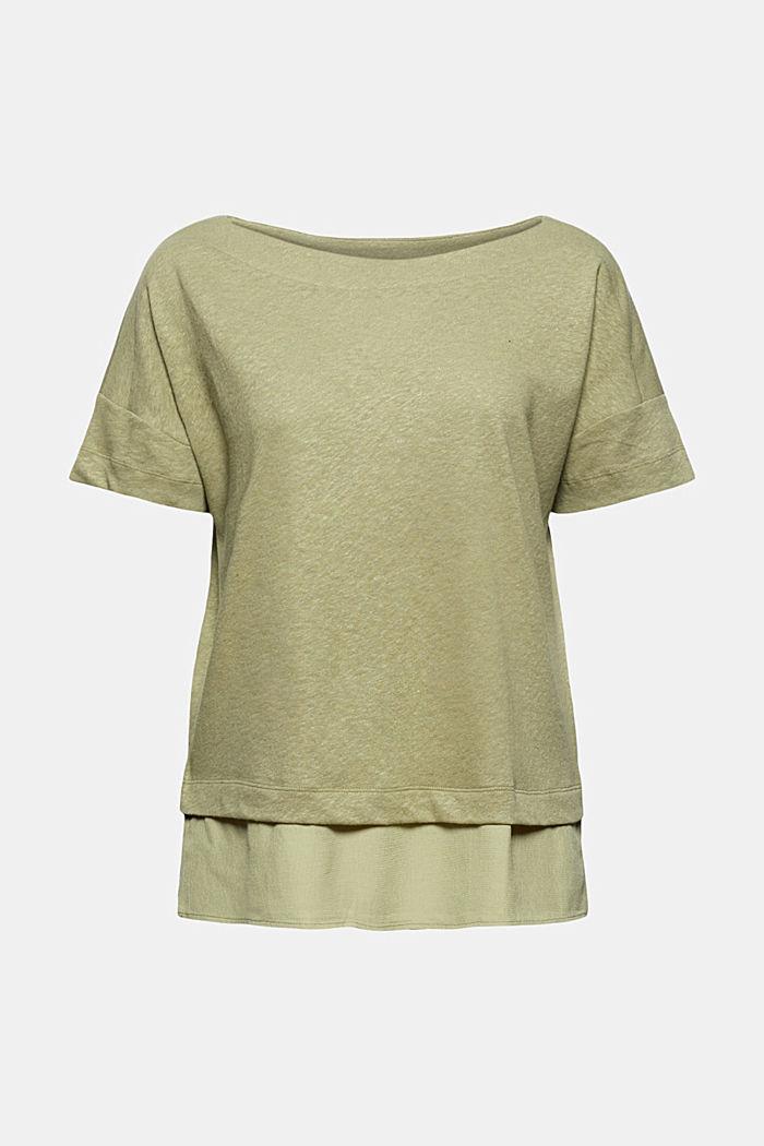 Linen blend: layered-effect T-shirt, LIGHT KHAKI, detail image number 7