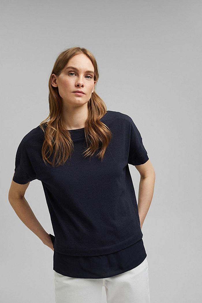 Linen blend: layered-effect T-shirt, NAVY, detail image number 0