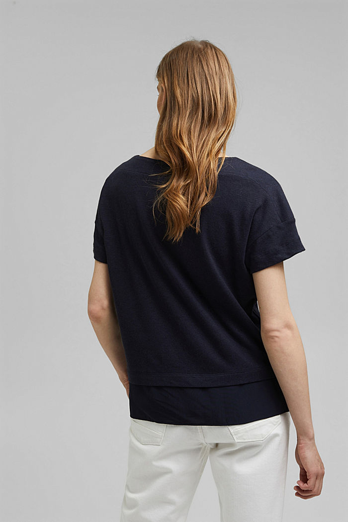 Linen blend: layered-effect T-shirt, NAVY, detail image number 3