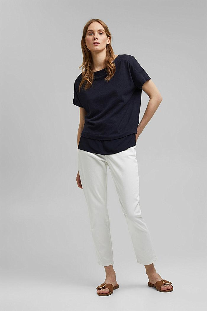 Linen blend: layered-effect T-shirt, NAVY, detail image number 1