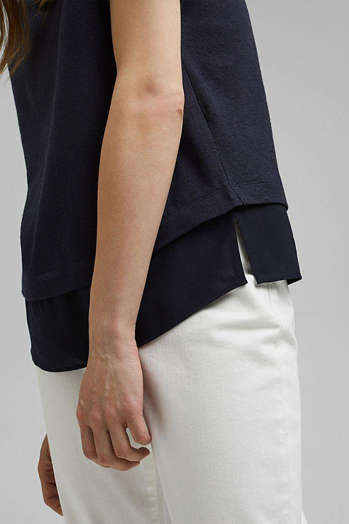 Linen blend: layered-effect T-shirt, NAVY, detail image number 5