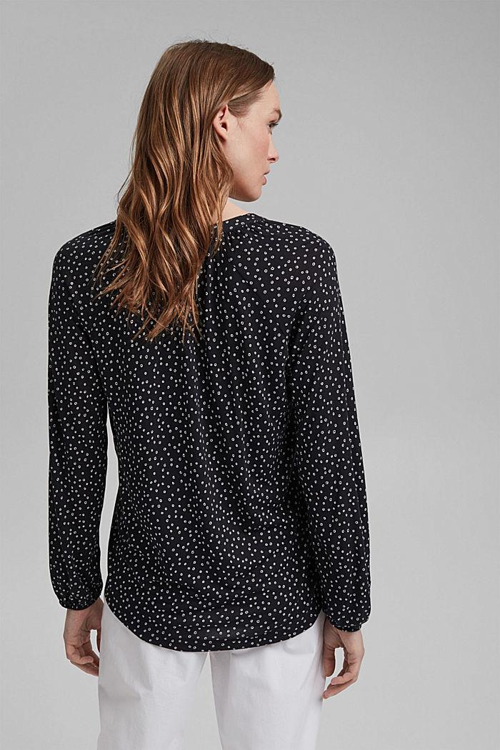 Mille-fleurs long sleeve top made of LENZING™ ECOVERO™, BLACK, detail image number 3
