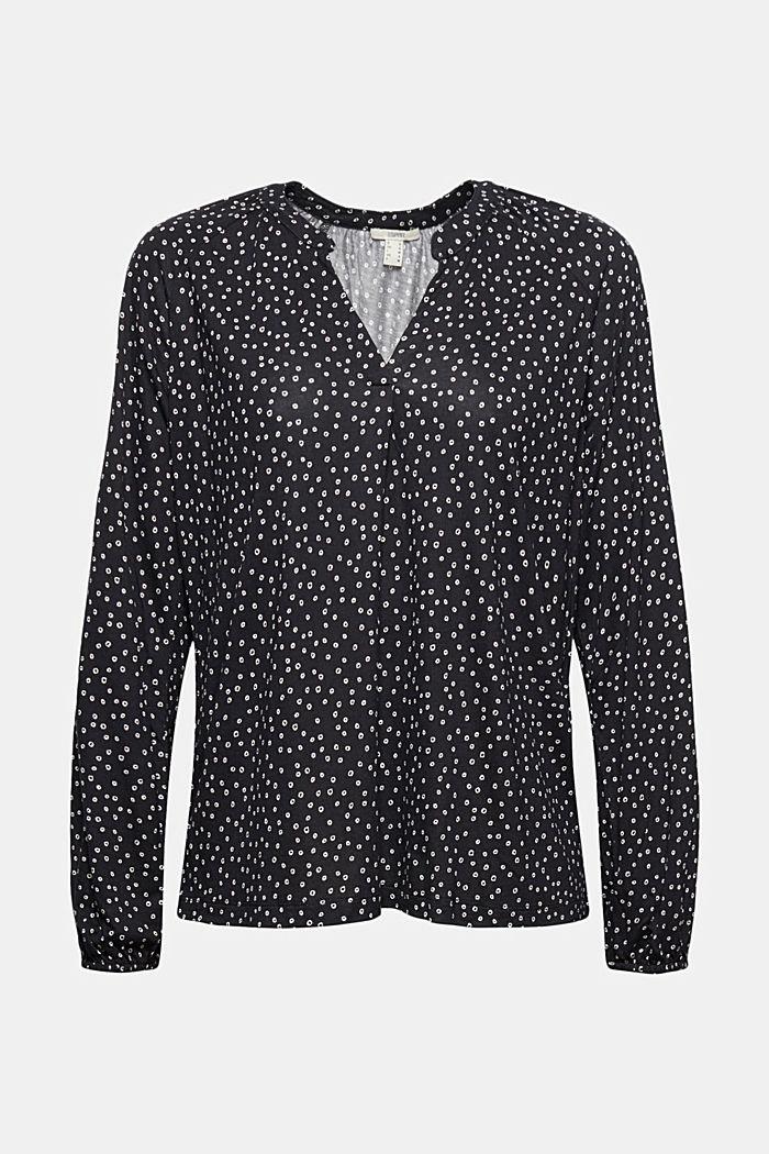 Mille-fleurs long sleeve top made of LENZING™ ECOVERO™, BLACK, detail image number 5