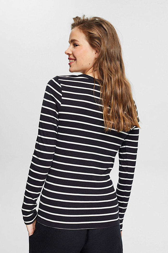 Striped long sleeve top made of 100% organic cotton, BLACK, detail image number 3