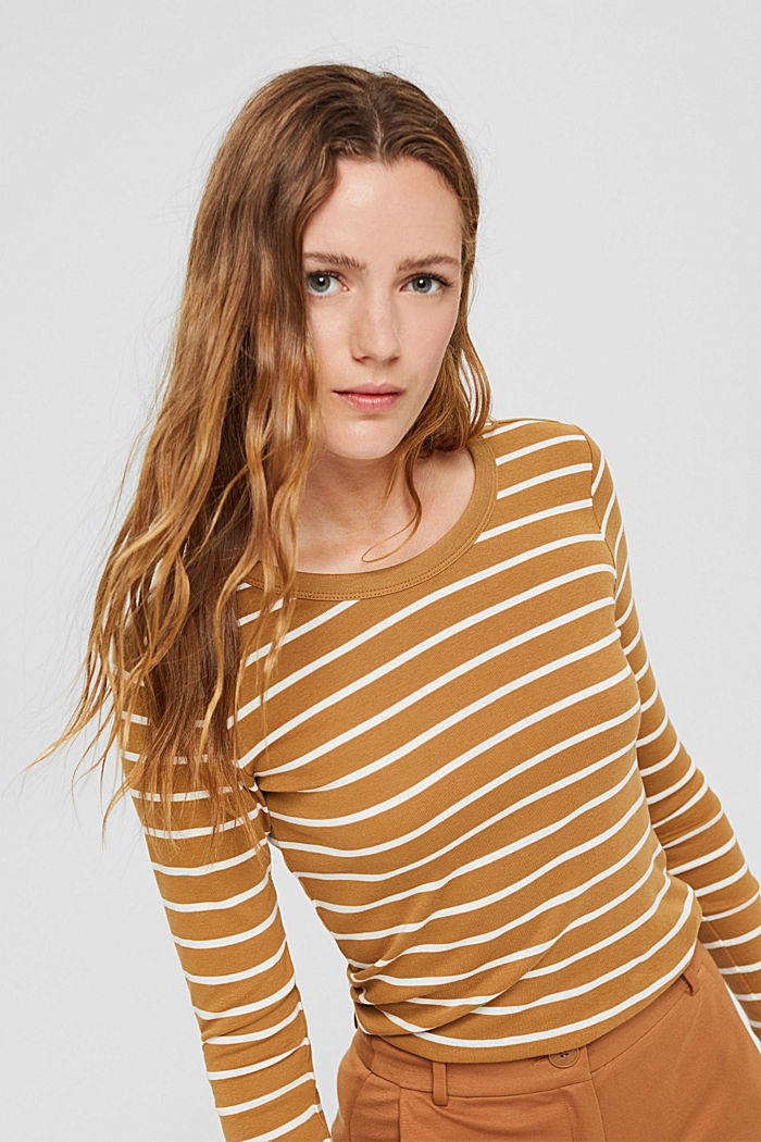 Striped long sleeve top made of 100% organic cotton, CAMEL, detail image number 0