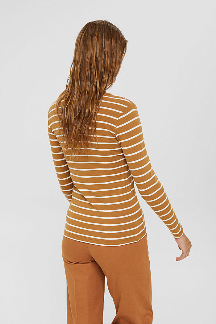 Striped long sleeve top made of 100% organic cotton, CAMEL, detail image number 3