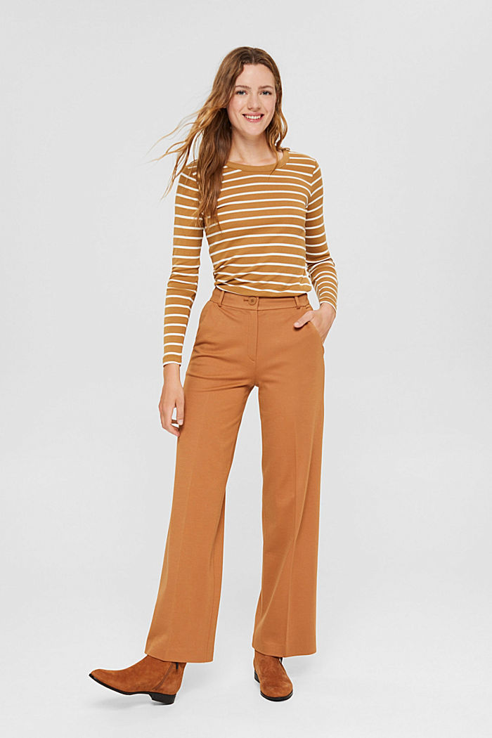 Striped long sleeve top made of 100% organic cotton, CAMEL, detail image number 1
