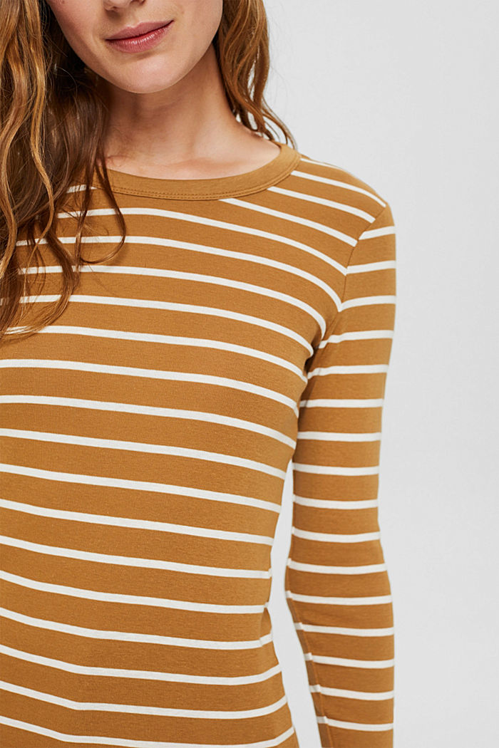 Striped long sleeve top made of 100% organic cotton, CAMEL, detail image number 2
