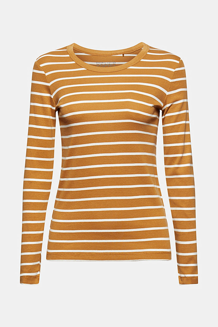 Striped long sleeve top made of 100% organic cotton, CAMEL, detail image number 5