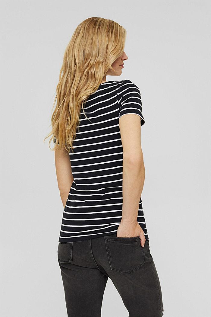 Gestreept T-shirt van biologisch katoen, BLACK, detail image number 3
