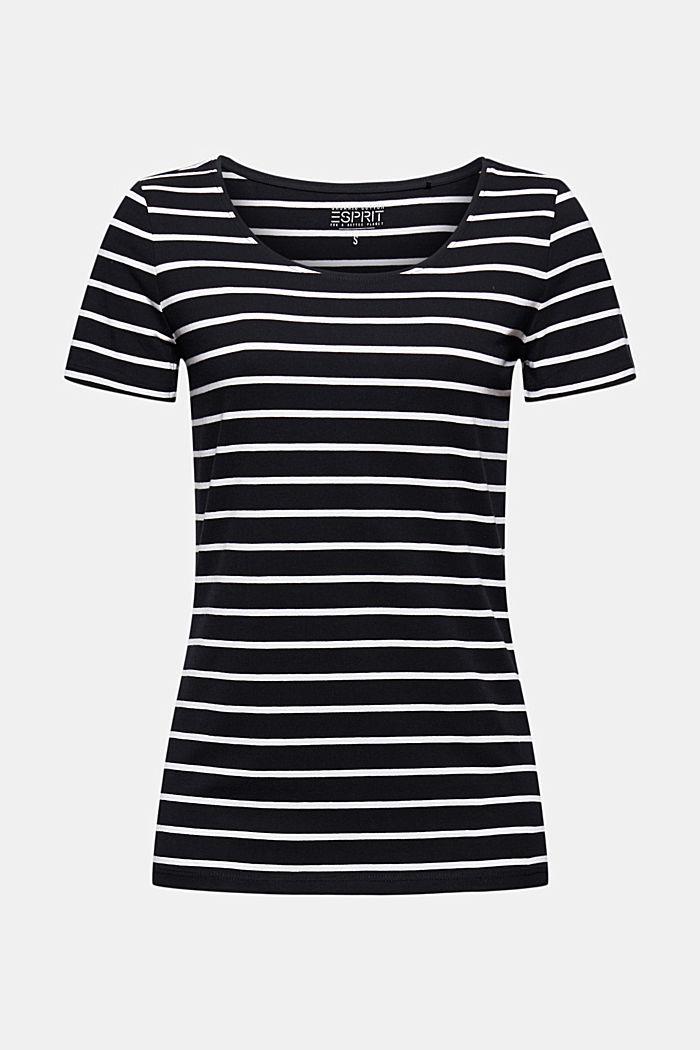 Gestreept T-shirt van biologisch katoen, BLACK, detail image number 5