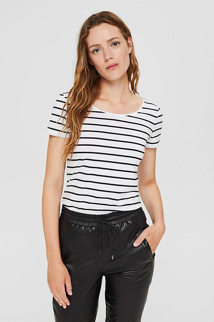 Gestreiftes T-Shirt aus Bio-Baumwolle, WHITE, detail image number 0