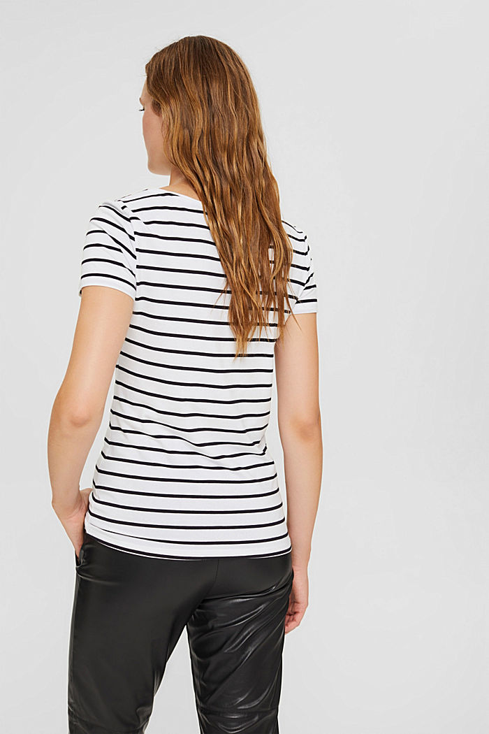 Gestreiftes T-Shirt aus Bio-Baumwolle, WHITE, detail image number 3