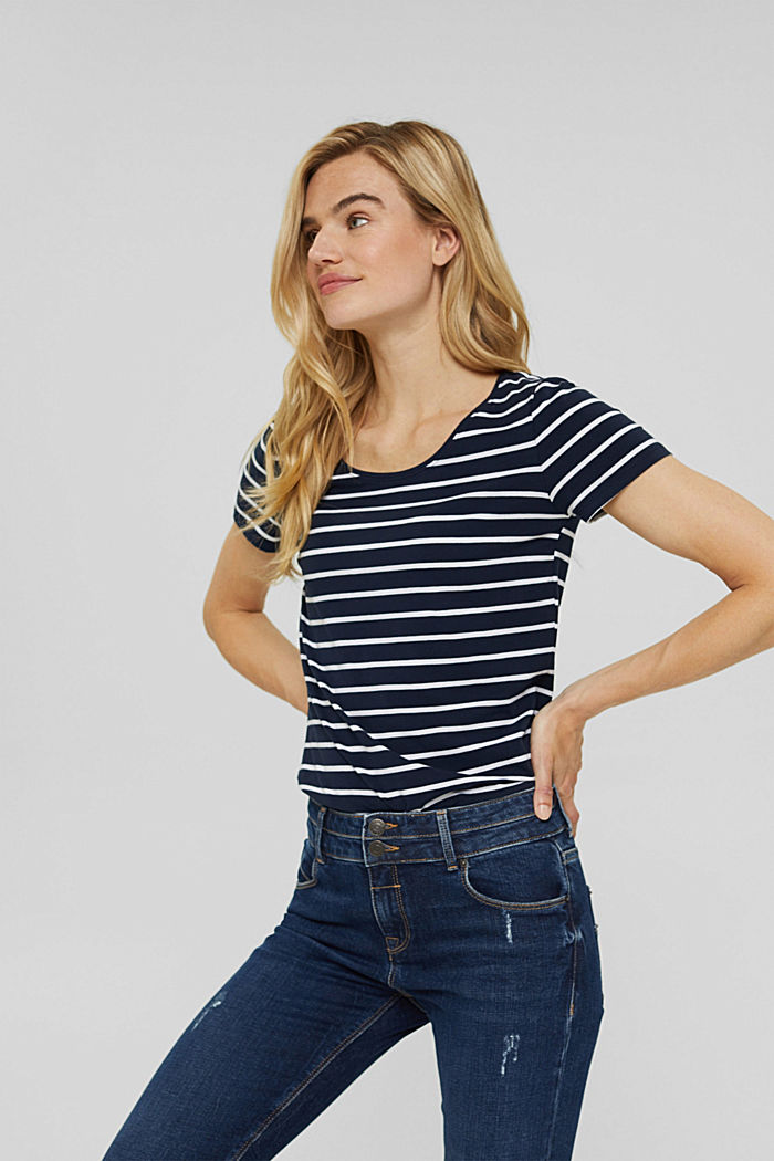 Striped T-shirt made of organic cotton, NAVY, detail image number 0