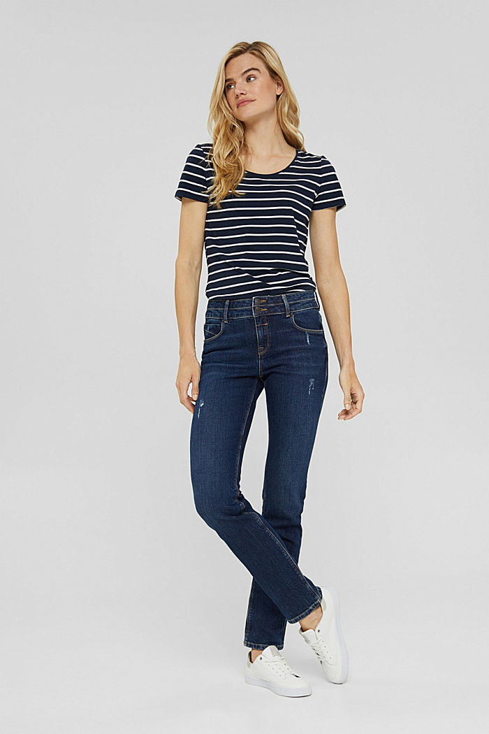 Striped T-shirt made of organic cotton, NAVY, detail image number 1