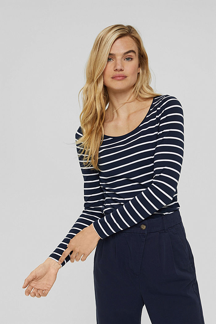 Maglia a manica lunga a righe in cotone biologico, NAVY, detail image number 0