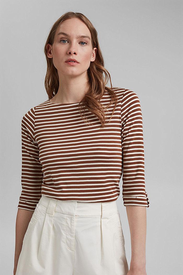 T-shirt rayé à manches longues, 100% coton biologique, TOFFEE, detail image number 0