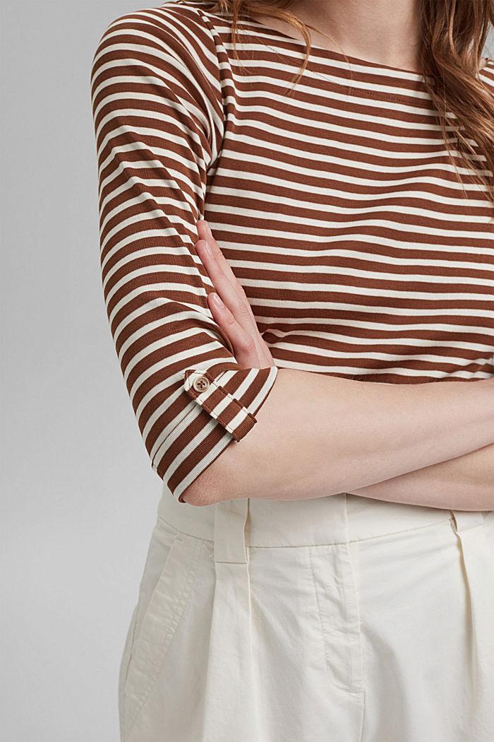 T-shirt rayé à manches longues, 100% coton biologique, TOFFEE, detail image number 2