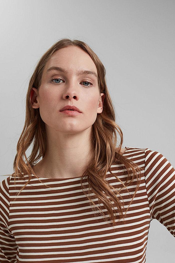 T-shirt rayé à manches longues, 100% coton biologique, TOFFEE, detail image number 5