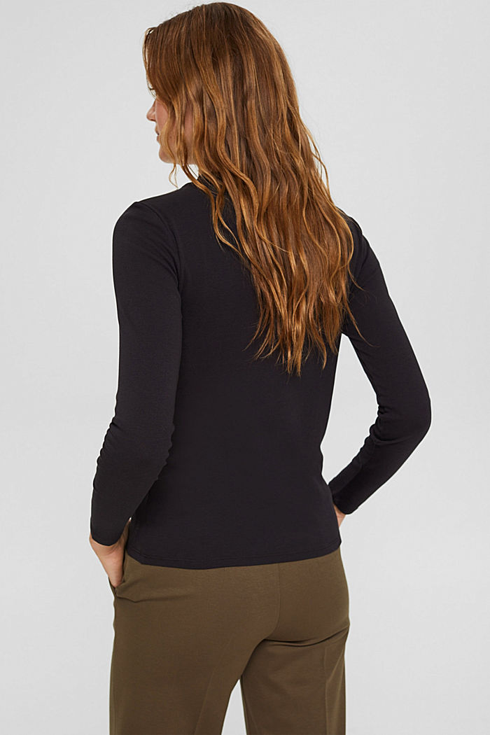 Long sleeve top with a stand-up collar, 100% organic cotton, BLACK, detail image number 3