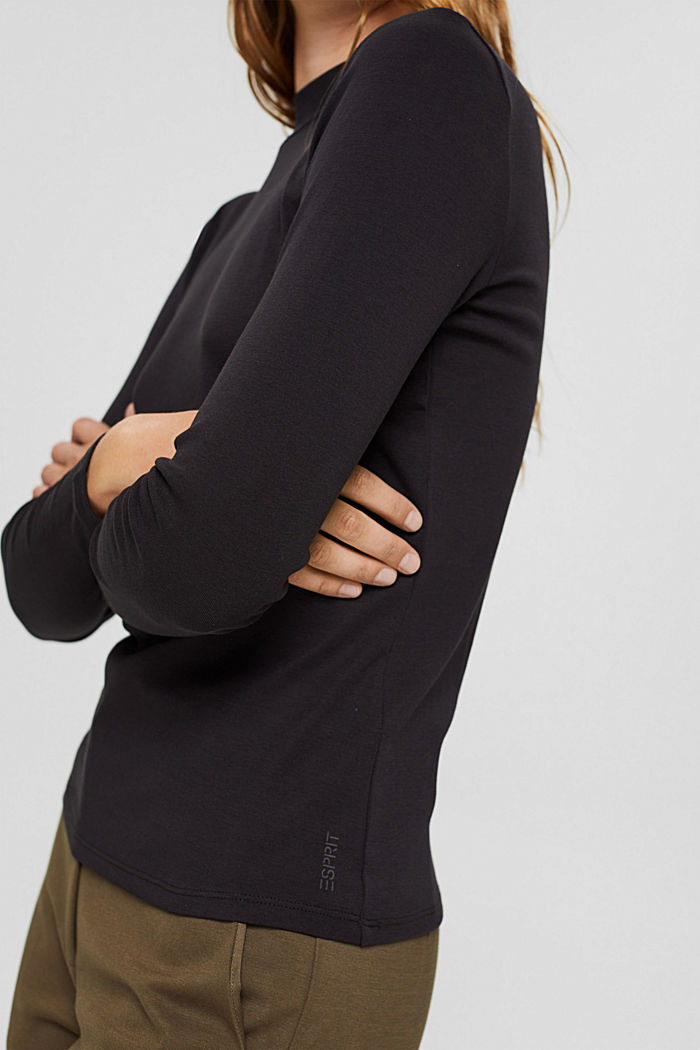 Long sleeve top with a stand-up collar, 100% organic cotton, BLACK, detail image number 2