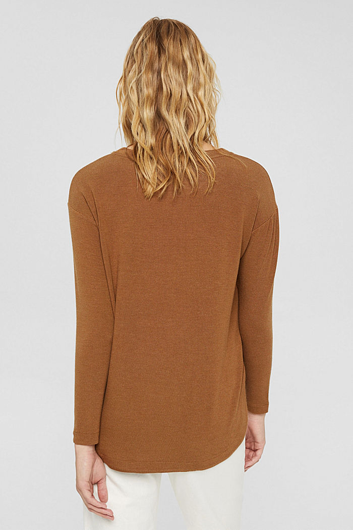 Pitkähihainen paita LENZING™ ECOVERO™ -sekoitetta, TOFFEE, detail image number 3