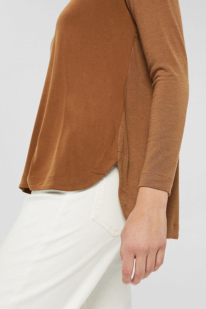 Pitkähihainen paita LENZING™ ECOVERO™ -sekoitetta, TOFFEE, detail image number 2