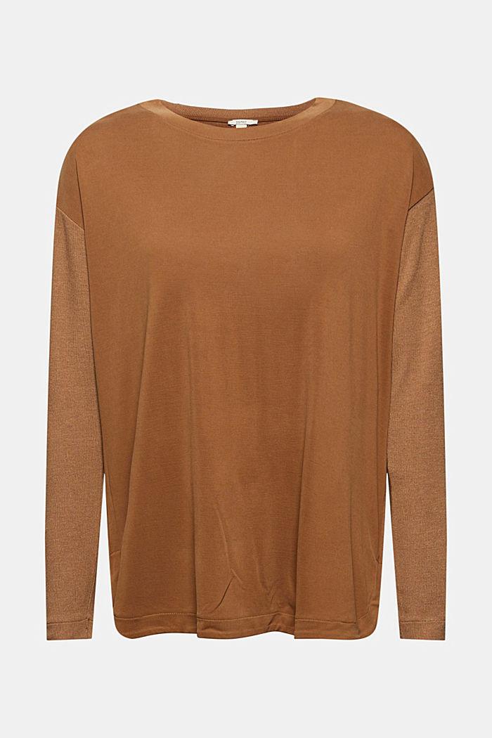 Pitkähihainen paita LENZING™ ECOVERO™ -sekoitetta, TOFFEE, detail image number 5