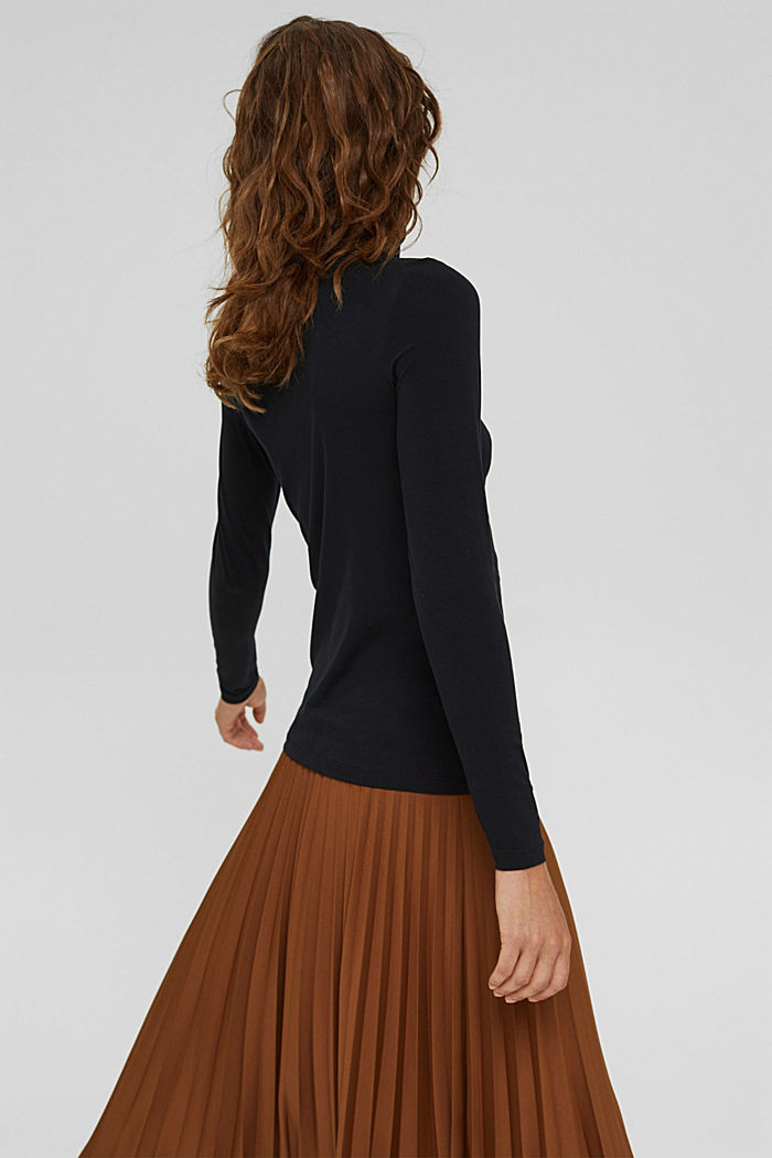 T-shirt à manches longues et col roulé, en coton biologique, BLACK, detail image number 3