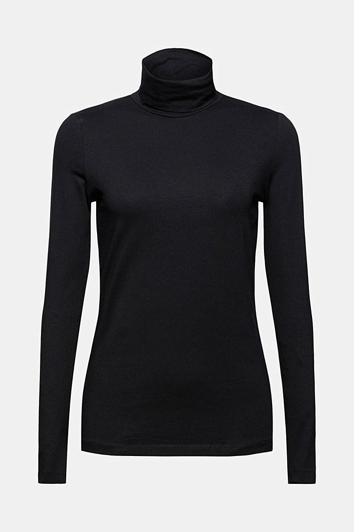 T-shirt à manches longues et col roulé, en coton biologique, BLACK, detail image number 7