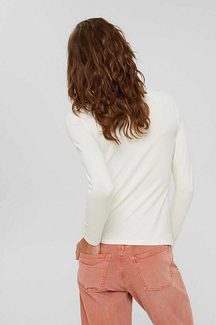 Camiseta de manga larga con cuello alto de algodón ecológico, OFF WHITE, detail image number 3