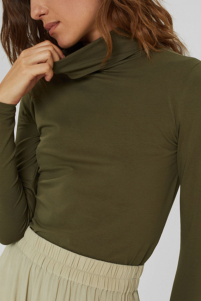 Camiseta de manga larga con cuello alto de algodón ecológico, DARK KHAKI, detail image number 2