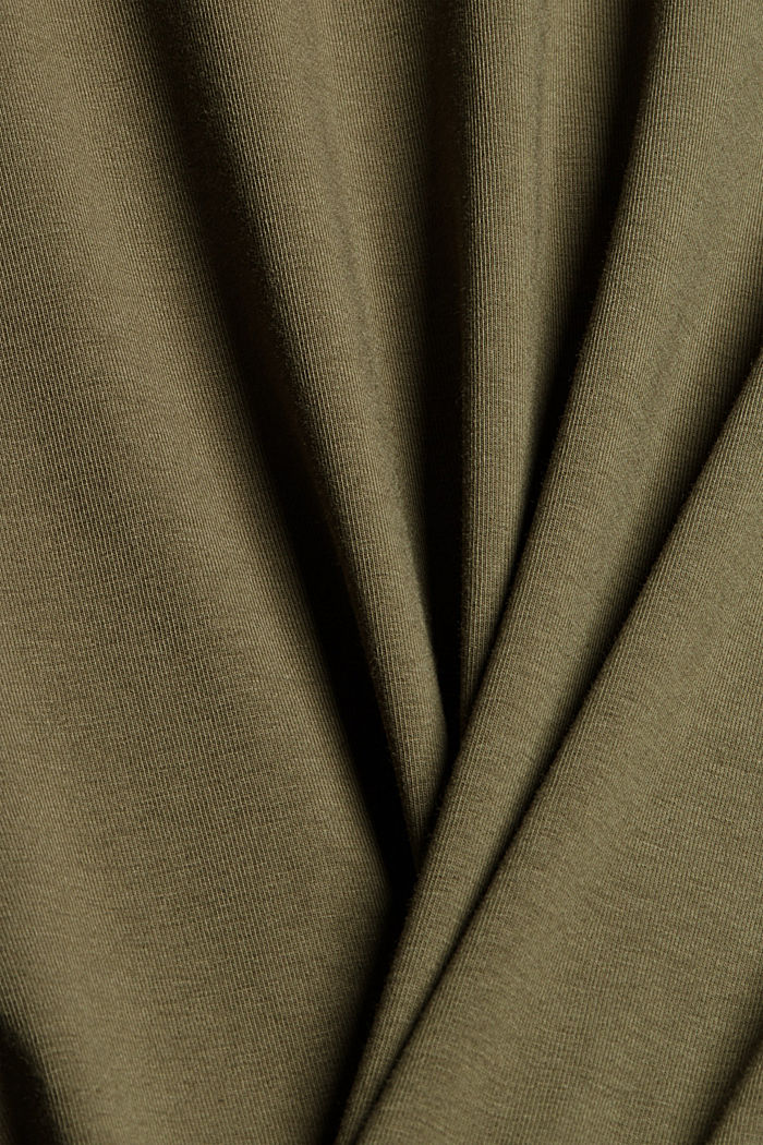 Camiseta de manga larga con cuello alto de algodón ecológico, DARK KHAKI, detail image number 4