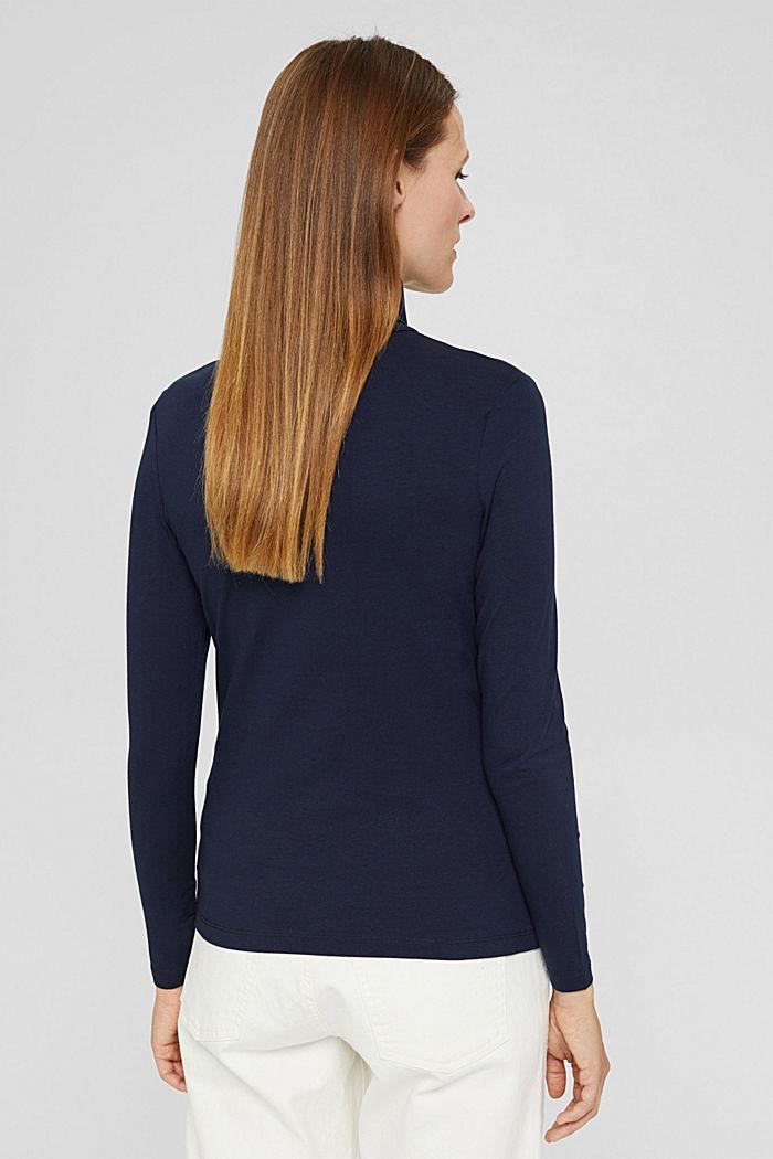 Camiseta de manga larga con cuello alto de algodón ecológico, NAVY, detail image number 3