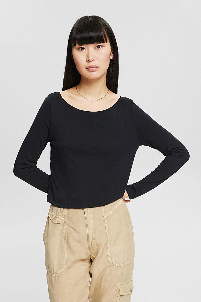 T-shirt à manches longues en lot de 2, en coton biologique mélangé, BLACK, detail image number 0