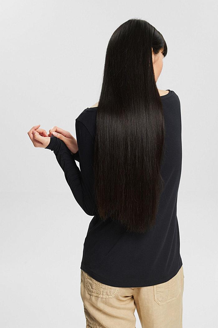 T-shirt à manches longues en lot de 2, en coton biologique mélangé, BLACK, detail image number 2