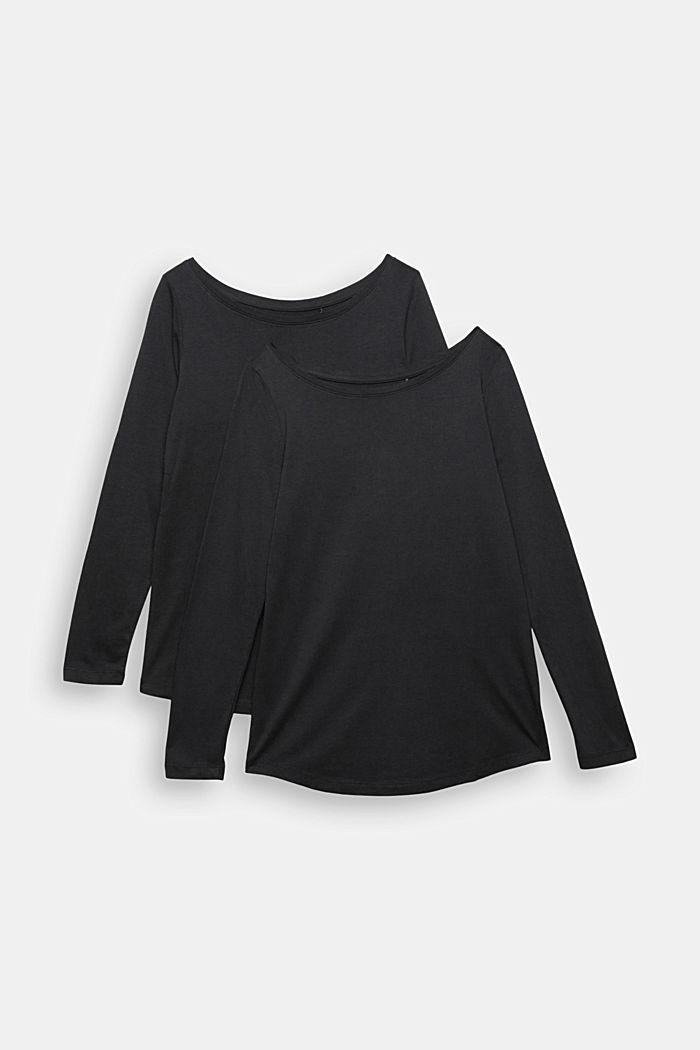 T-shirt à manches longues en lot de 2, en coton biologique mélangé, BLACK, detail image number 5