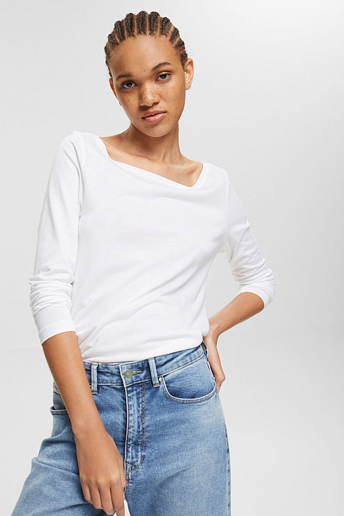 Double pack of long sleeve tops made of blended organic cotton, WHITE, detail image number 0