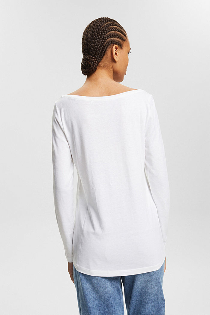 Double pack of long sleeve tops made of blended organic cotton, WHITE, detail image number 2