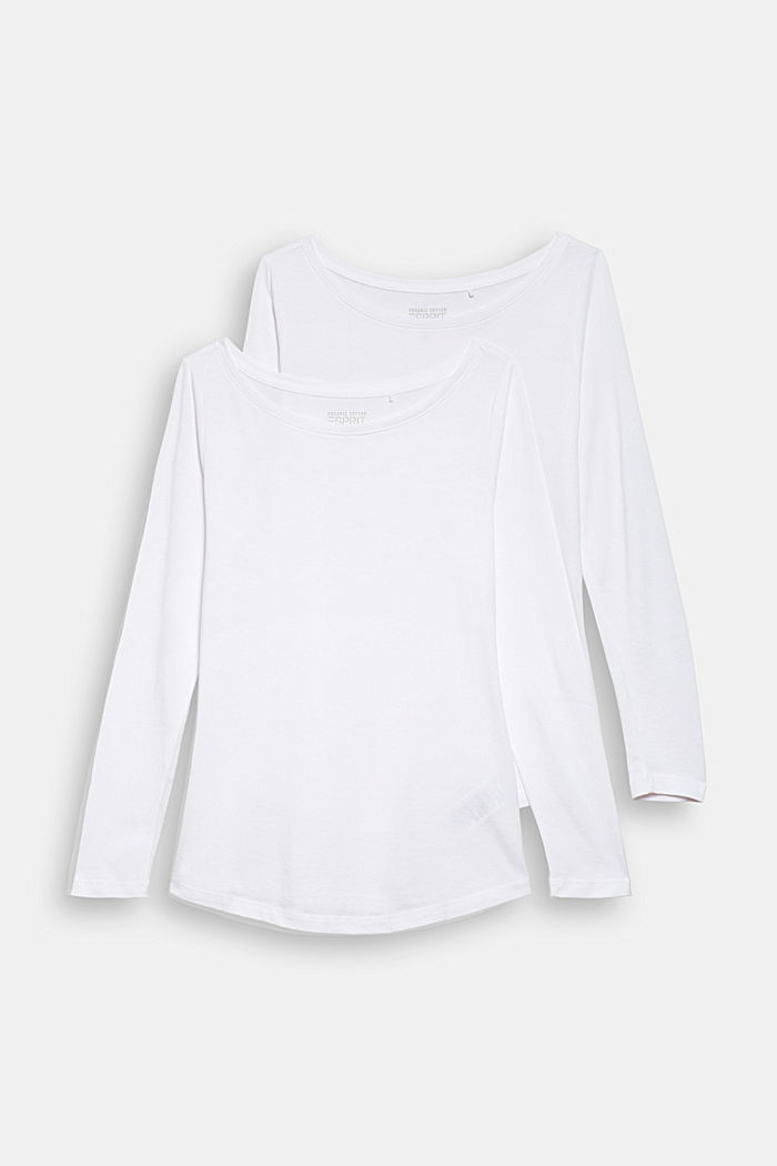 Double pack of long sleeve tops made of blended organic cotton, WHITE, detail image number 4