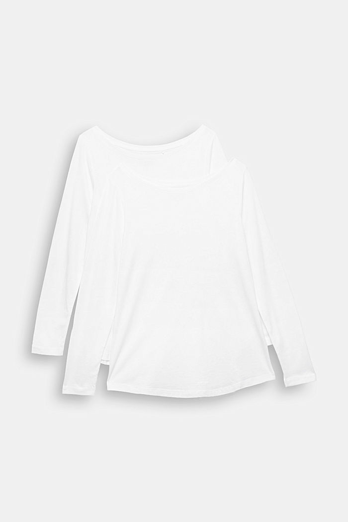 Double pack of long sleeve tops made of blended organic cotton, WHITE, detail image number 5